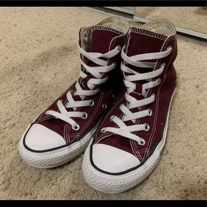Just as NEW burgundy high top converse
